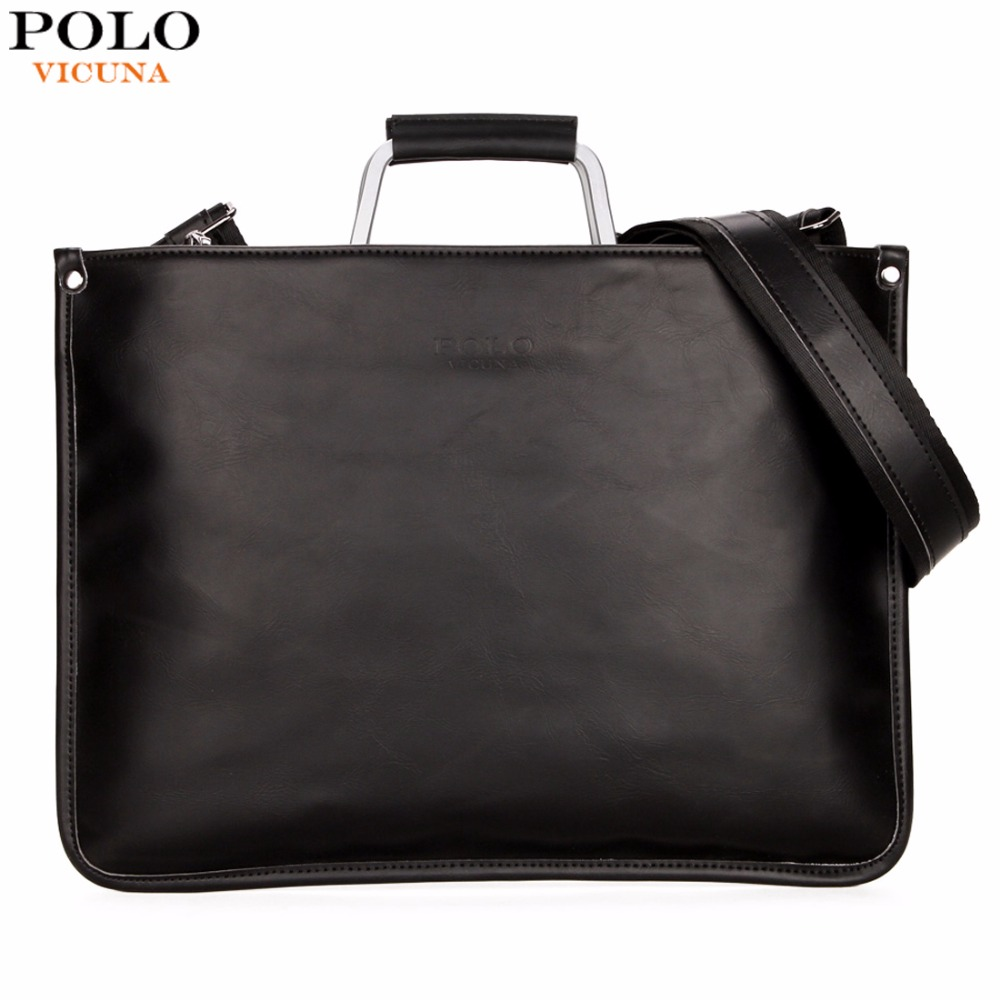 5c0efc4a6c8bf VICUNA POLO Simple Design Leather Men Briefcase With Metal Handle Business  Men Document Bag Classic OL Mens Bags Men Handbag-in Briefcases from  Luggage & ...
