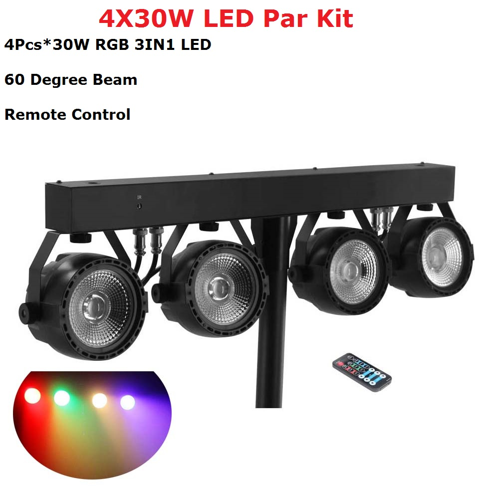 Flat LED Par Kits High Quality 4X30W RGB 3IN1 LED Stage Par Liht With Light Stand LED Display Professional Dj Lighting Equipment