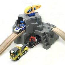Expansível P0 Cinza Dupla Camada Acessórios Divertido Jogo de Cena Do Túnel Pista Pista Especial Crianças Brinquedos Pista Fit Brio Pista De Madeira