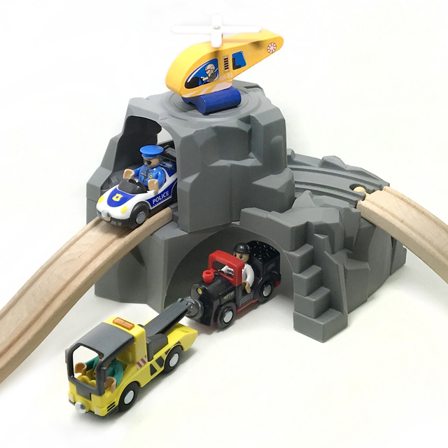 P0 Gray Expandable Double Layer Tunnel Track Game Fun Scene Special Track Accessories Children Track Toys Fit Brio Wooden Track