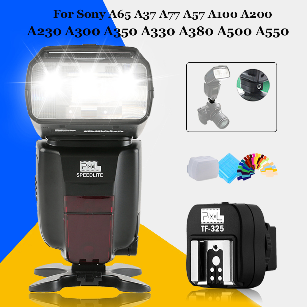 Pixel M8 LCD GN60 High Performance Wireless Flash Speedlite & TF-325 Hot Shoe Adapter For Sony A65 A37 A77 A57 A100 A200 A230 high speed mini hdmi to hdmi cable 1 5m for sony alpha a57 a77 a99 a65 a37 dslr digital camera free shipping