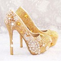 2017 Size 34-45 Handmade! Fashion Rhinestone Wedding Shoes Woman Brand High Heels Ladies Women Pumps Bridesmaid shoes