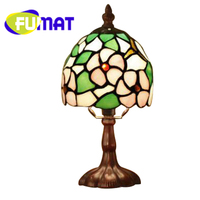 FUMAT Tiffany Table Lamp Cherry Blossoms LED Stained Glass Bedside Night Light European Country Bedroom Childern Table Light