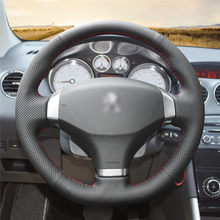 High quality Black Artificial Leather anti-slip customized car steering wheel cover For Peugeot 408 2013 цена и фото