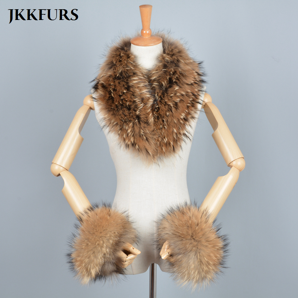Women s Real Fox Fur Raccoon Fur Collar Cuffs Winter Thick Warm Genuine Fur Fashion Magnetic
