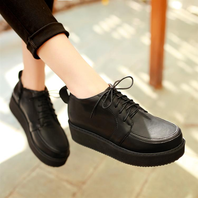 ФОТО 2015 spring platform shoes round toe lacing plus size women's shoes preppy style small yards shoes,large,small yard 31-43