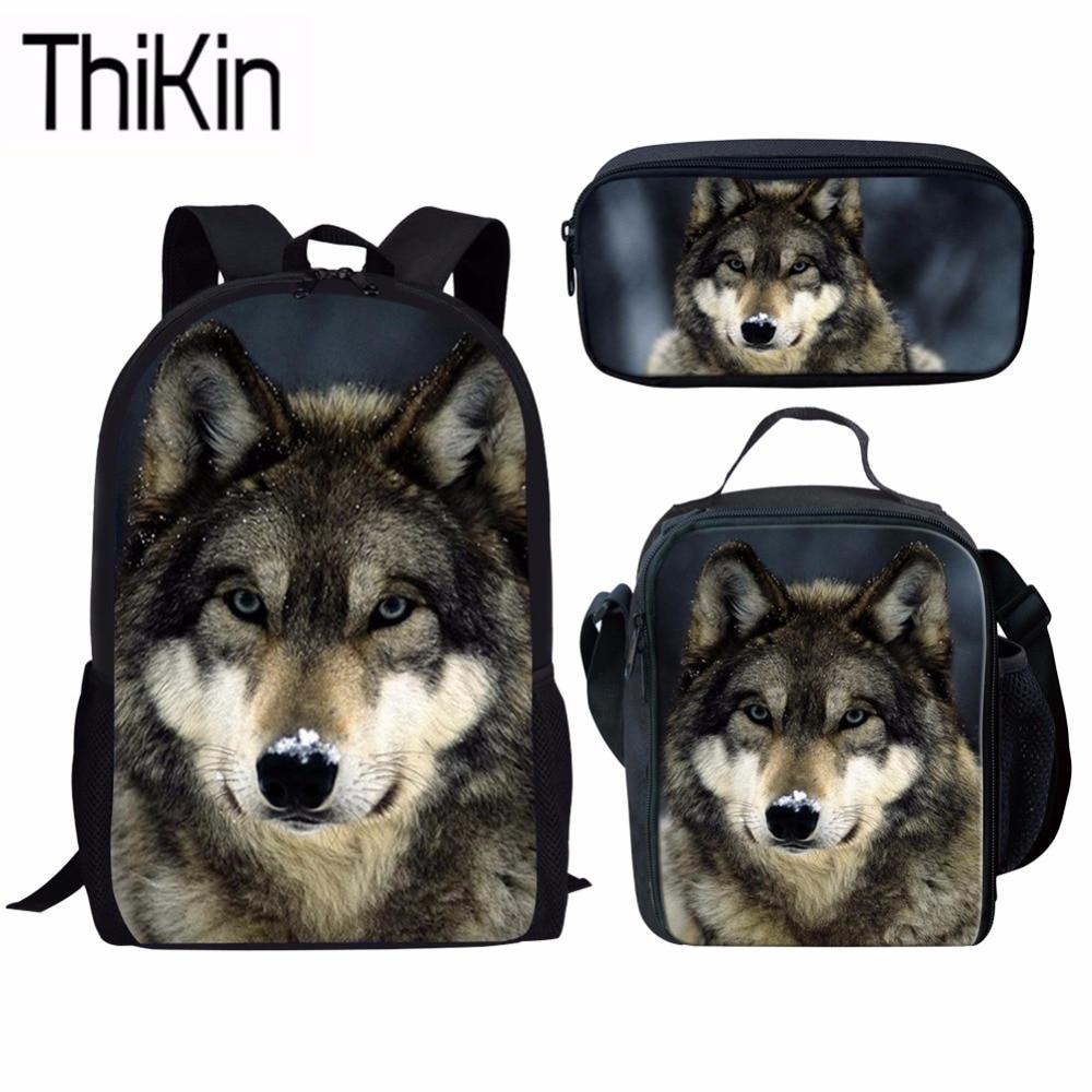THIKIN 3 pièces/ensemble sacs d'école pour enfants 3D Animal impression cartable enfants loup épaule sac à dos garçons Cool école primaire Bolsa