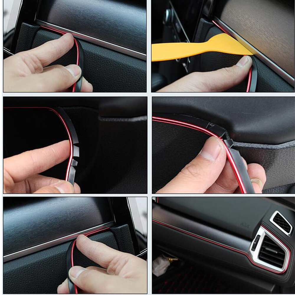 Image 3 - 5 Meters car interior gap colour strips for Opel astra j g mokka insignia zafira b meriva vectra b vivaro-in Car Stickers from Automobiles & Motorcycles