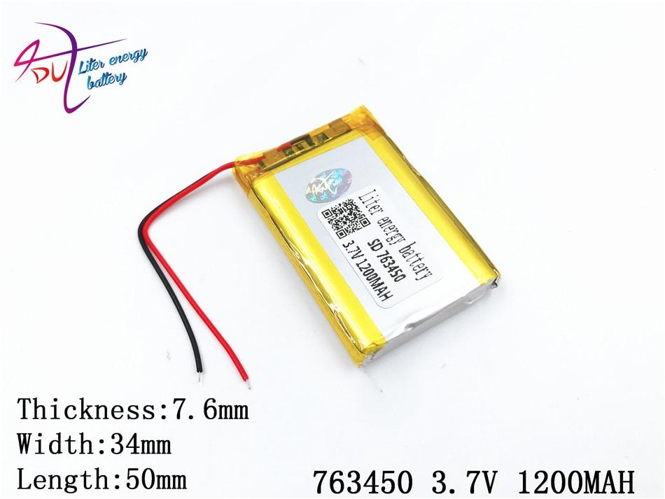 Mp3 3,7 V Mp4 1200 Mah 763450 753550 Plib; Polymer Lithium-ion/li-ion Batterie Für Dvr Lautsprecher Handy Gps