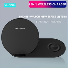 YHONH 10W 2 in 1 Fast Wireless Charger Stand Charging Station Compatible for Apple amp Samsung Watch Airpods iPhone all QI cheap Plastic With Charging Indicator Used With Phone Used With Smartwatch Micro Usb Desktop Pad