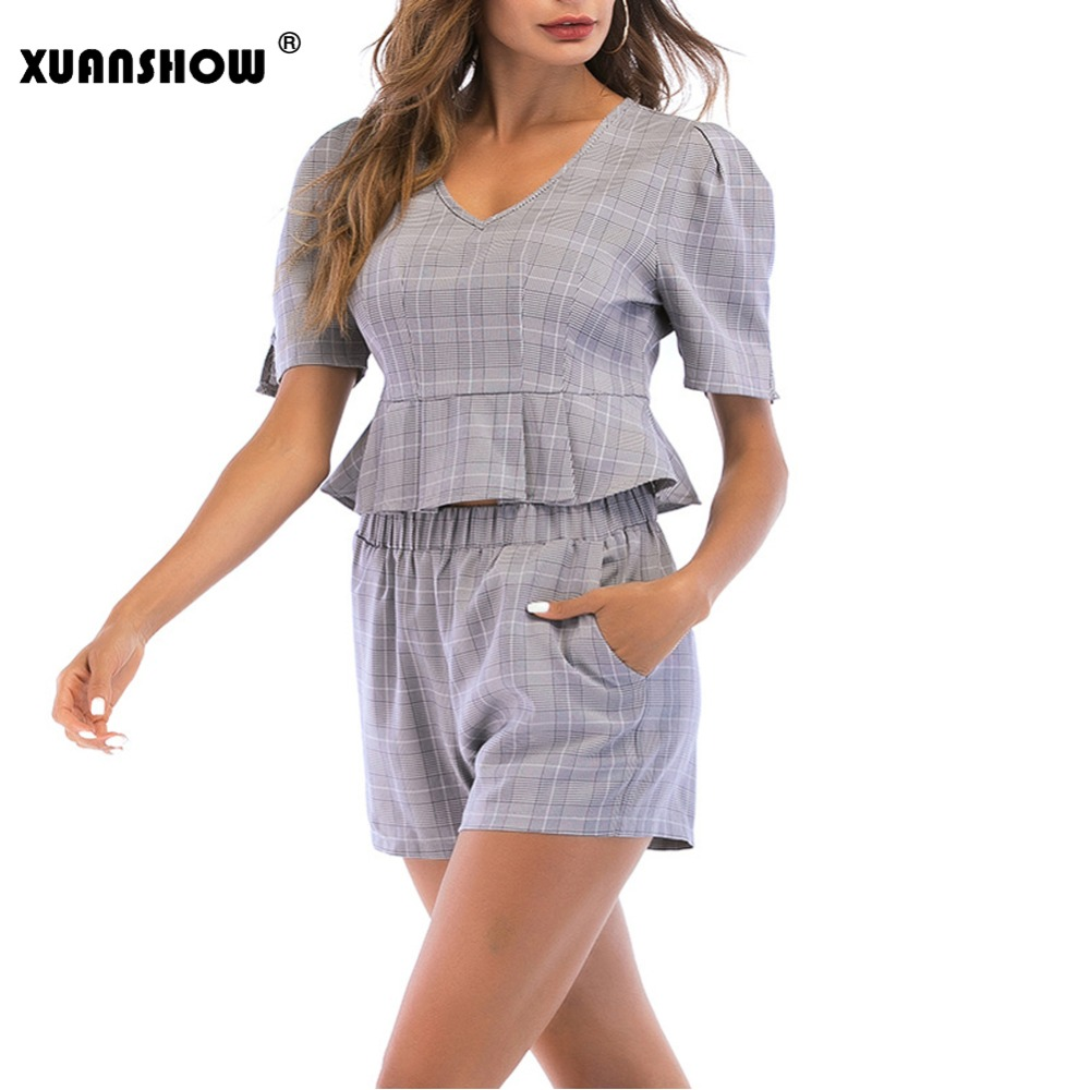 XUANSHOW Ladys Tracksuits Fashion Summer Office Lady Plaid Set Crop Top and Shorts Two Piece Set Women Ruffles 2018 Outfits
