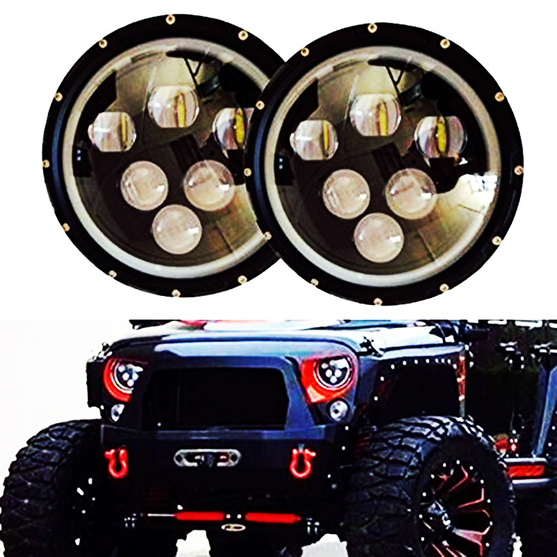 Dragon Eye 7 INCH 60W Round Projector LED Headlight DRL Halo Angel Eyes For Wrangler Jk Tj Harley Trucks Offroad Hummer H4 Plug 7 60w round car led headlight with halo angel eye