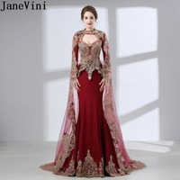 JaneVini Arabic Burgundy Evening Dress With Jacket Long Sleeves Beaded Cape Dress Mother Of The Bride Dubai Dinner Dress 2018