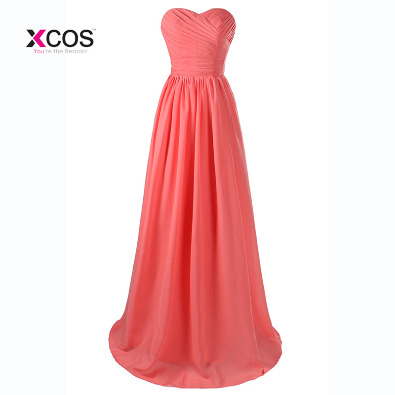 Coral Color Bridesmaid Dresses Long 2017 Sweetheart Pleated Wedding ...