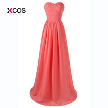 Coral Color Bridesmaid Dresses Long 2017 Sweetheart Pleated Wedding Party  Dress Prom Gowns HQ4872(China cbedf597c604