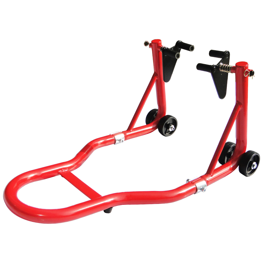 Swing Arm Motorcycle Lift : Red motorcycle front stand spool swingarm lift in car