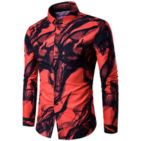 Autumn New Men Long Sleeve Blouse Digital Printing Ink Pattern Turn Down Collar All Matched Slim