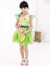 Girl Tinker Bell Costume Fairy Tale Storybook Green Flower Cosplay Book Week Fantasia Fancy Dress