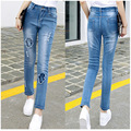 Factory direct sales wholesale Large size woman Jean Paige Elastic force Slim female Jeans Palm pattern Autumn girl Jean
