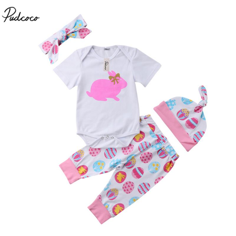 4Pcs Cute Newborn Baby Girls Easter Bunny Clothes Romper Bodysuit Leggings Outfit Set Kids Clothing