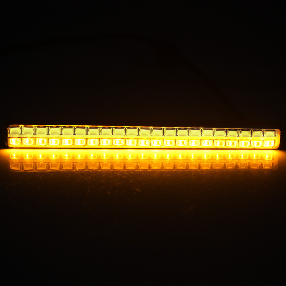 DRL White & Amber Car LED Daytime Running Lights Car Styling Turn Signal Indicator Light 2Pcs 42 LED Chips