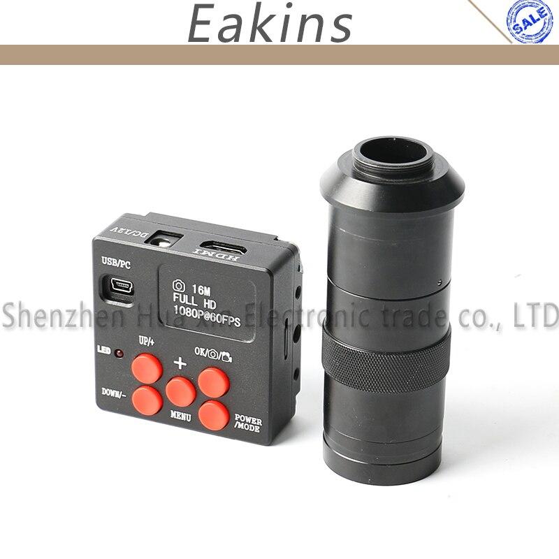 16MP 1080P Full HDMI HD промышленный микроскоп камера 60F/S высокоскоростной лабораторный видео микроскоп камера + 4G TF карта + 100X C Mount объектив