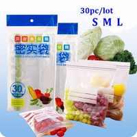 30 uds/vanzlife nevera de cocina bolsa fresca de alimentos para carne, pescado, congelador para fruta bolsas de almacenamiento, ropa interior bolsa de calcetines