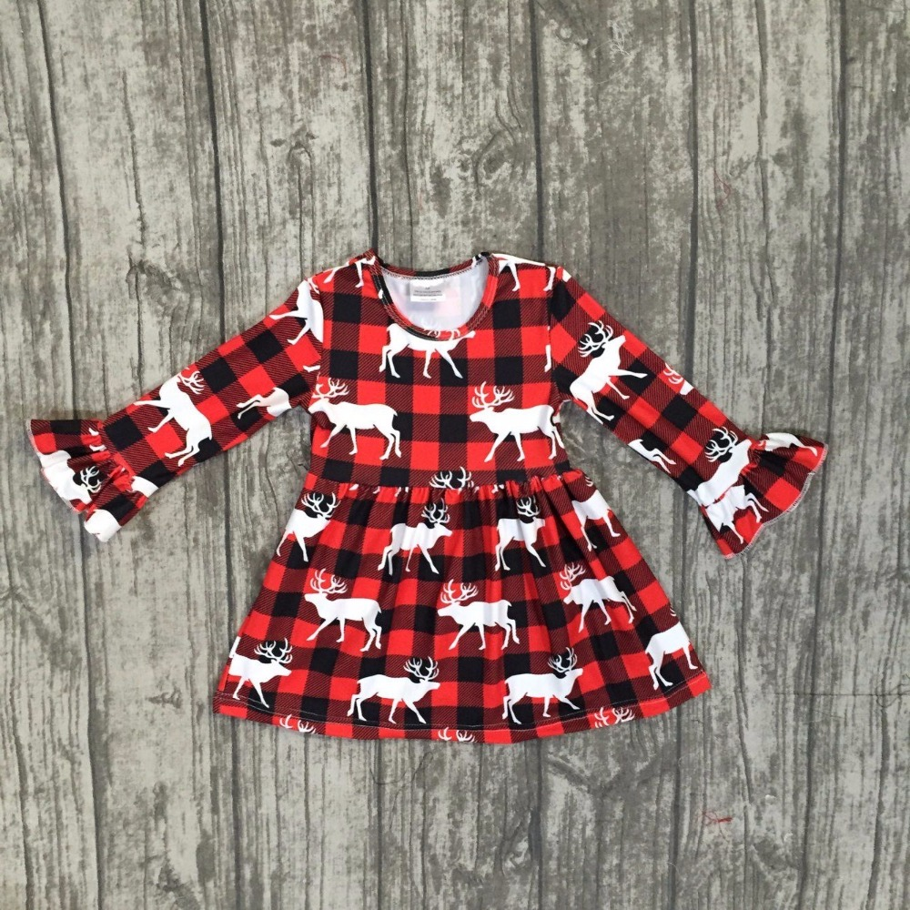 baby girls boutique Christmas reindeer dress girls cotton Christmas dress children Fall red cotton dress kids wear dress