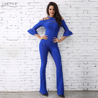 Adyce 2020 Chic Women Bandage Jumpsuit Sexy Half Sleeve Off the Shoulder Celebrity Party Rompers Blue Black Long Jumpsuits
