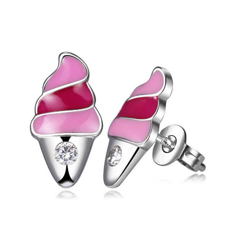 Child Fashion 925 Silver Pink Enamel Ice Cream Small Stud Earrings for Baby Girls Women Summer Cute Party Earrings Jewelry ED194