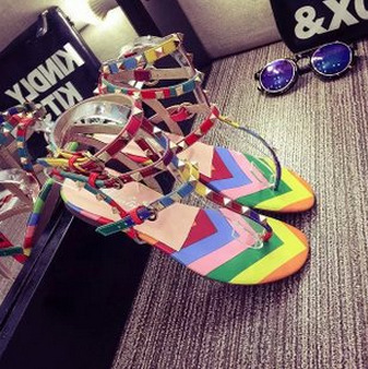 c29981e99a4 fashion summer rivet color block decoration rainbow thong sandals casual  women flat flip flop sandals-in Women s Sandals from Shoes on  Aliexpress.com ...