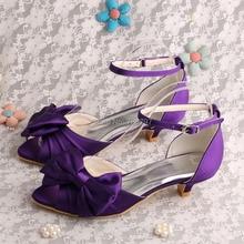 Nueva Llegada de Las Mujeres Zapatos de Punta Abierta Tacón Bajo 4 CM de Satén de Novia Zapatos de La Boda Púrpura