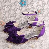 Nouvelle Arrivée Femmes Chaussures À Bout Ouvert Talon Bas 4 CM Satin De Mariée De Mariage Pourpre Chaussures