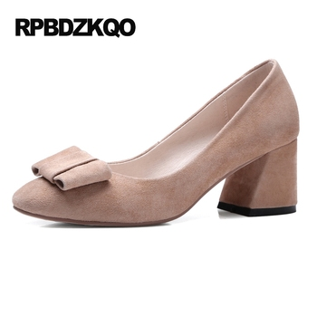 Size 4 34 Block Black Closed Toe High Heels Cute Medium Round 2017 Pumps Korean Suede Bow Nude Women Shoes Chinese Autumn Spring
