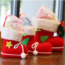 2 PCS / LOT Red Christmas Stocking Boots Shoes for Home Christmas Decorations Children Holiday Gift enfeites de natal papai noel(China)