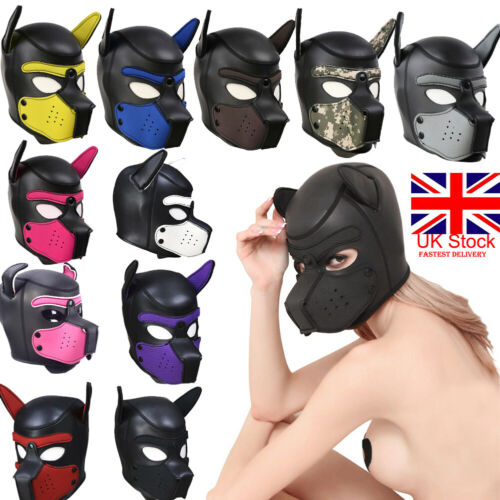 Padded Latex Rubber Role Play Dog Mask Puppy Cosplay Full Head Add Ears 10 Colors Unisex Masks