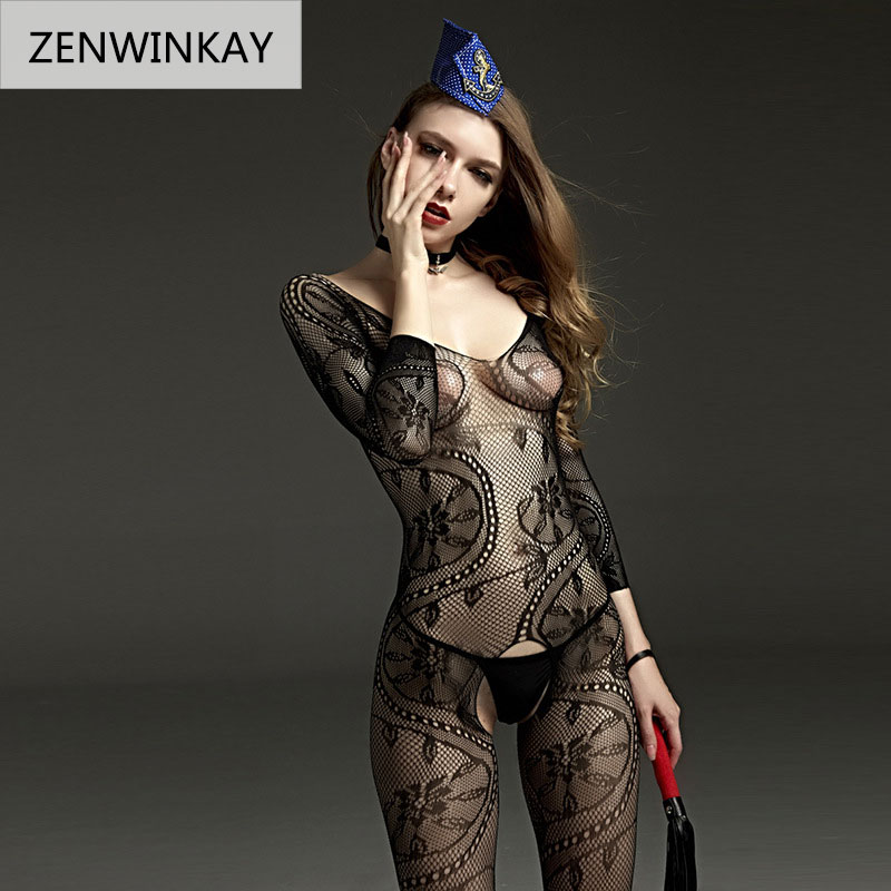 <font><b>2018</b></font> Female Black <font><b>Sexy</b></font> Porno Costumes Dress Fancy Toy Netting Underwear Stocking Erotic <font><b>Lingerie</b></font> Sleepwear Women Teddy <font><b>Lingerie</b></font> image