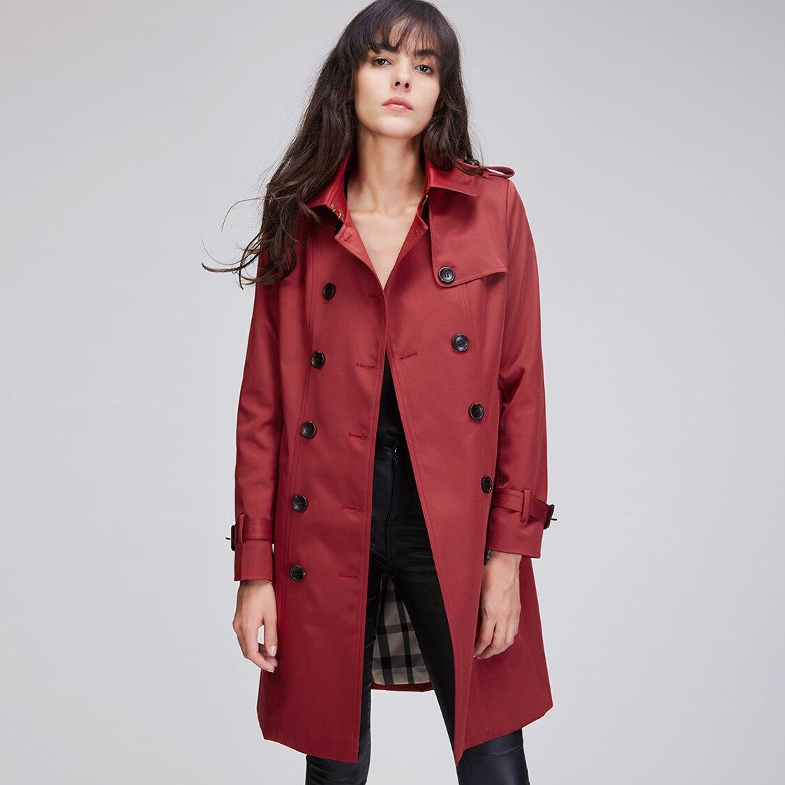 JAZZEVAR 2019 الخريف الجديدة عالية أزياء العلامة التجارية امرأة الكلاسيكية مزدوجة الصدر خندق معطف المطر ماء الأعمال قميص-في معطف مبطن من ملابس نسائية على  مجموعة 2
