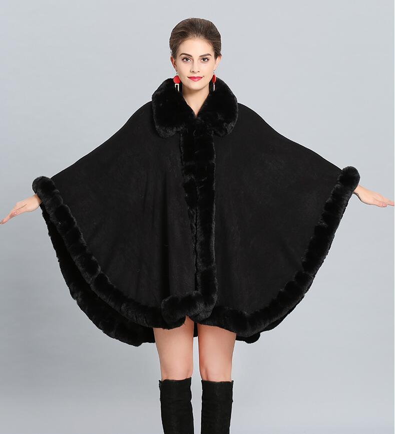 Winter Cloak Faux Cashmere Warm Thick Coat 2018 Plus Size Poncho Women Solid Faux Fur Neck Cape Big Pendulum Dovetail Cardigan