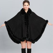 Зимний плащ из искусственного кашемира, теплое толстое пальто размера плюс, пончо для женщин, однотонный искусственный мех, накидка на шею, большой маятниковый кардиган «Ласточкин хвост»
