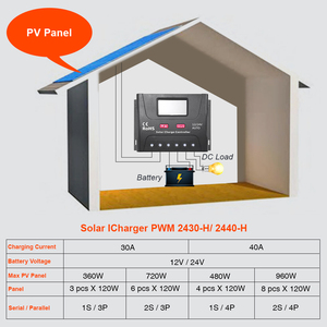 Image 5 - EASUN الطاقة الشمسية جهاز التحكم في الشحن 30A 40A PWM جهاز تحكم يعمل بالطاقة الشمسية USB 5 فولت الجهد المنظم شاشة الكريستال السائل 12 فولت 24 فولت منظم الطاقة الشمسية