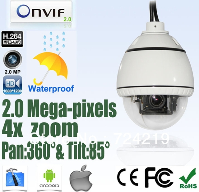 H.264 ONVIF 4X Zoom HD 2.0 Megapixel HD 2Mp Mini PTZ Network Waterproof CCTV Speed Dome IP Camera OSD Free Shipping