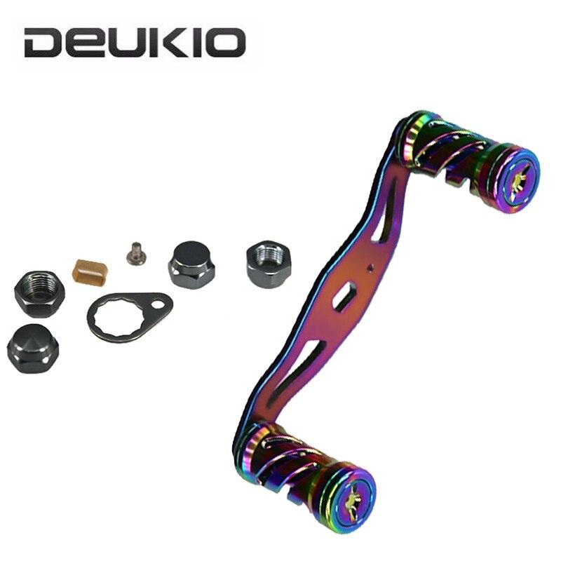 DEUKIO Colorful Fishing Reel Handle Spinning Fishing Wheel Crank Rocker Arm with DIY Refit Grip Knobs