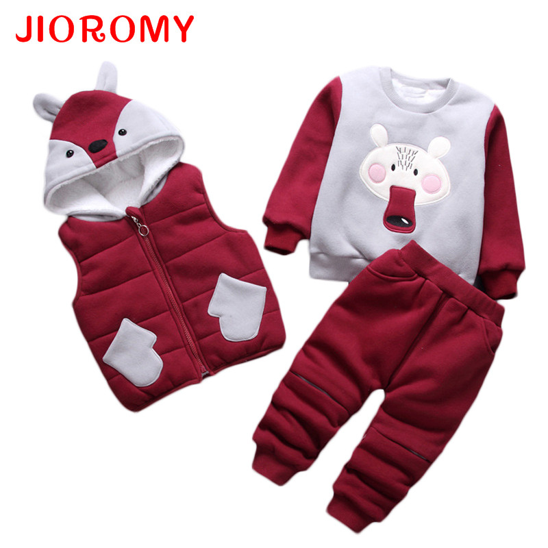 JIOROMY Baby Boys Clothes Set 2017 New Winter Lambskin Thicker Cotton Sweater T-shirt +Hooded Vest+Pants 3pcs Kids Clothing Suit 2017 new boys clothing set camouflage 3 9t boy sports suits kids clothes suit cotton boys tracksuit teenage costume long sleeve