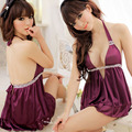 Sexy Lingerie Costume Women Satin Sleepwear Lace Sexy halter Costumes + G-string Erotic Lingerie Set Purple Underwear Nightwear
