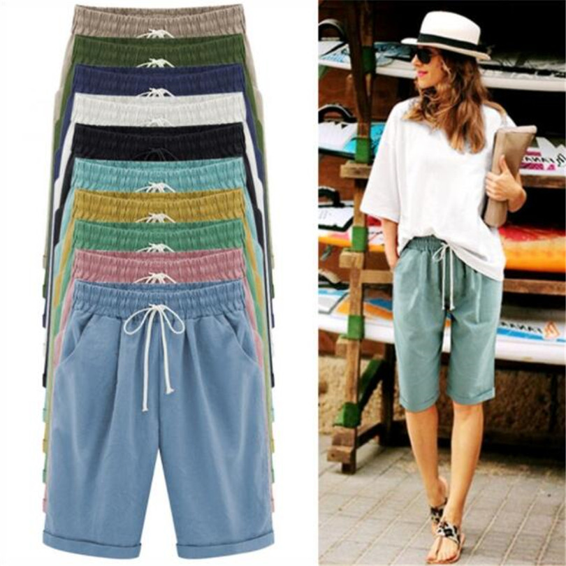 YSDNCHI Summer Cotton Linen Elastic Waist Shorts New Fashion Loose  Women Half Long Basic Shorts Candy Colors Plus Size S-6XL