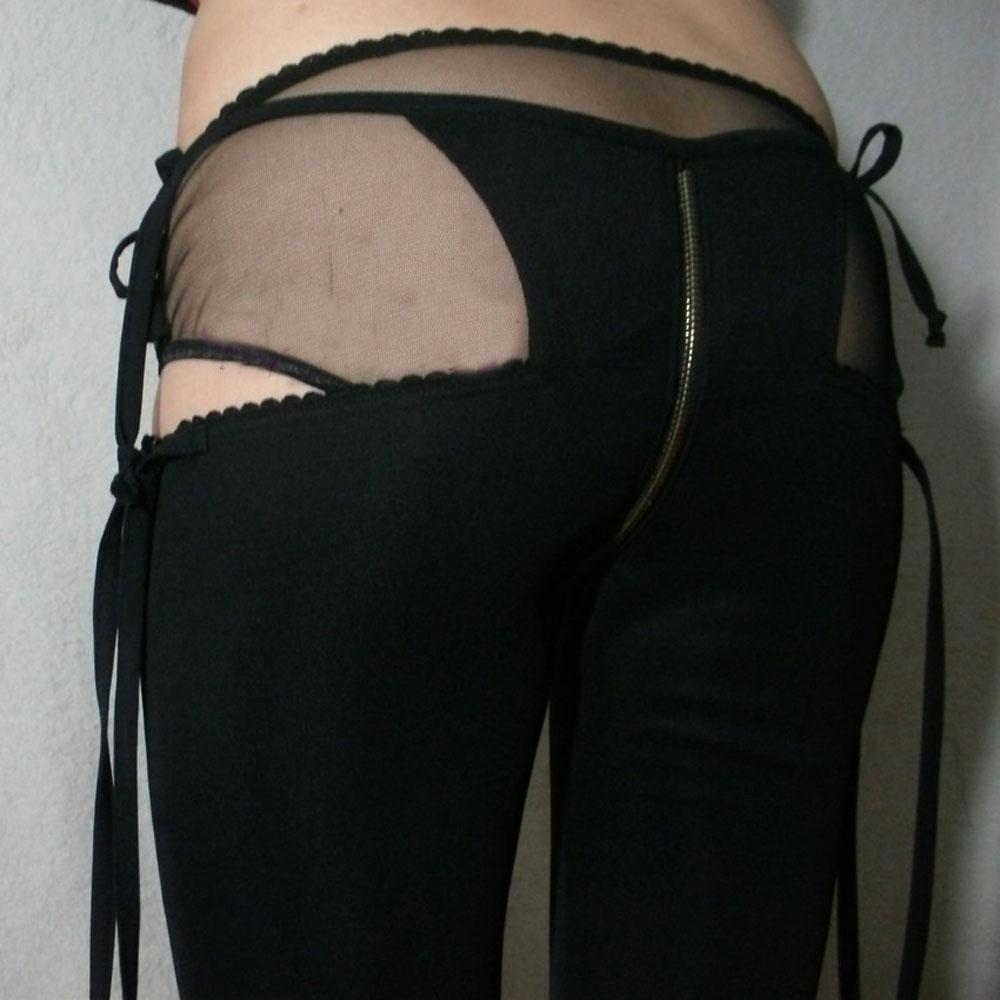 Taille basse G-string faux deux pièces Capris Flare pantalon érotique Transparent tenue de club avec fermeture éclair entrejambe ouverte FX1126
