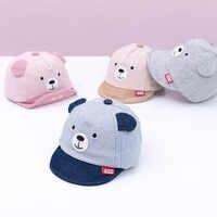 New Cartoon Bear Children Hat Spring Summer Baby Adjustable Baseball Cap Cotton Newbron Caps Soft Sunhat Baby Accessories 3-12M