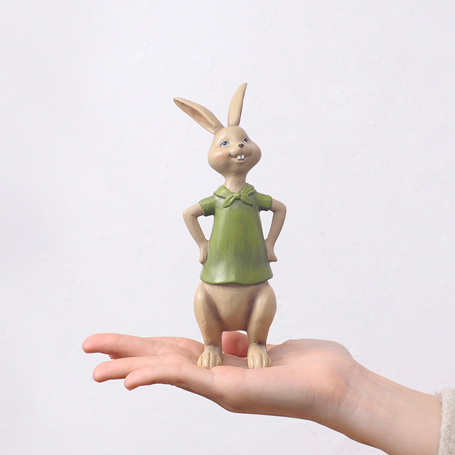Lovely Couple Rabbits Figurine Ornaments Creative Wedding Decoration Accessories Resin Animal Figurine Statues Sculptures Crafts
