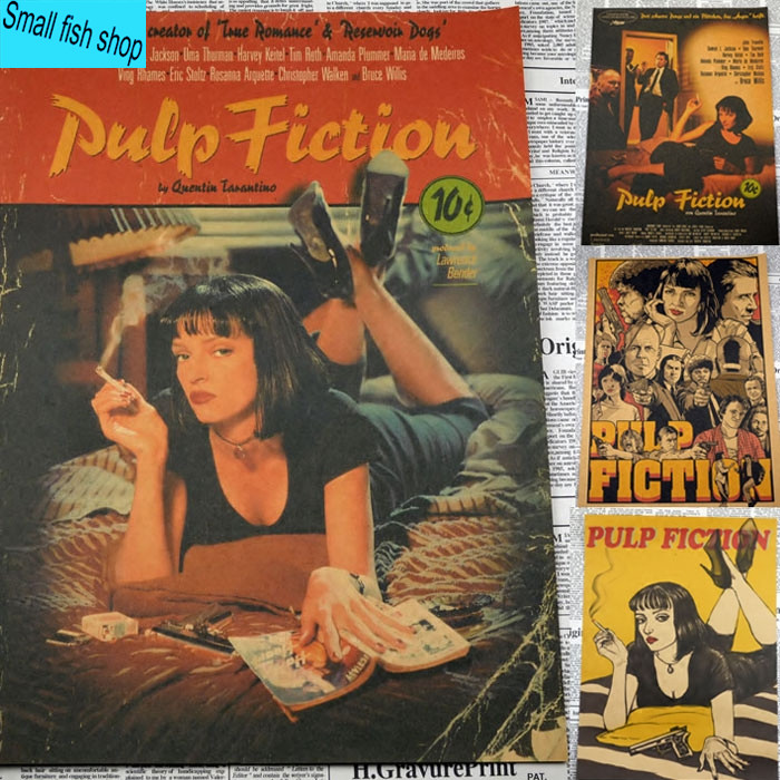 Pulp Fiction Quentin Tarantino Uma Thurman Retro Kraft Cartel de Película de cin